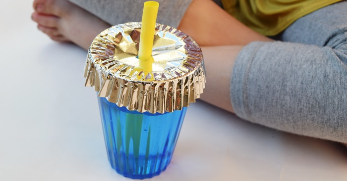 cover cups with cupcake liners to keep bugs out
