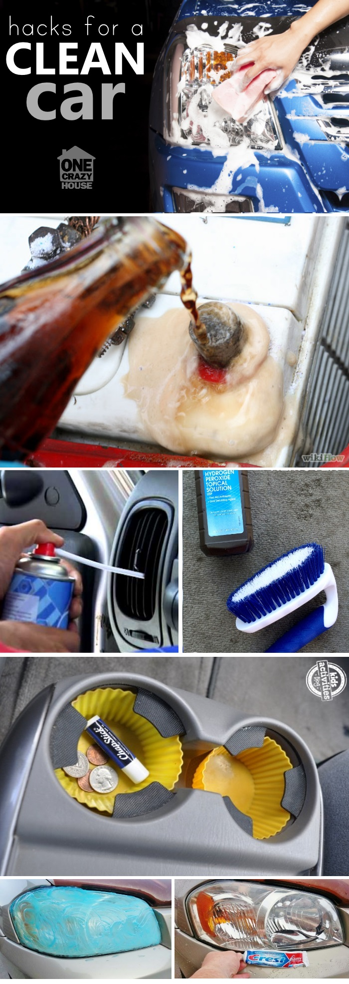 These are genius car cleaning tip and hacks to help make your car sparkly. You can use soda to clean your battery, silicone cupcake liners…