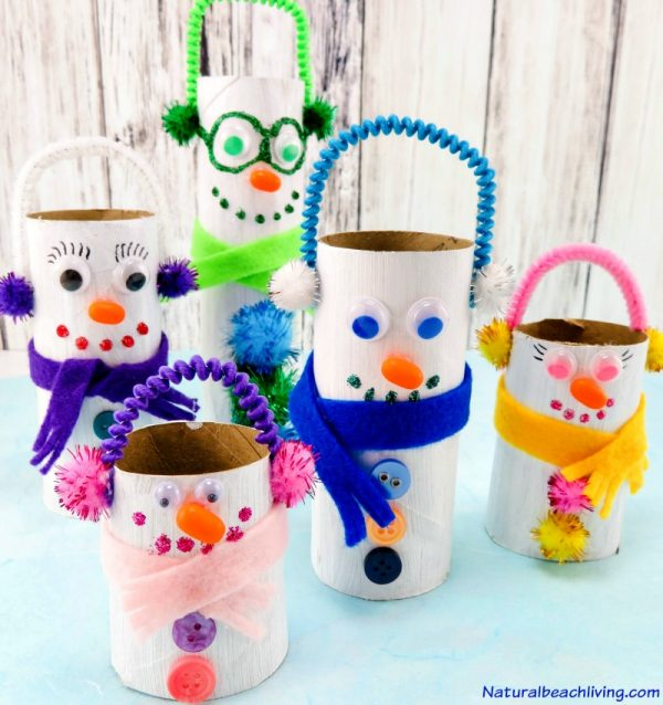 cardboard tubes toilet-paper-roll-snowman-crafts