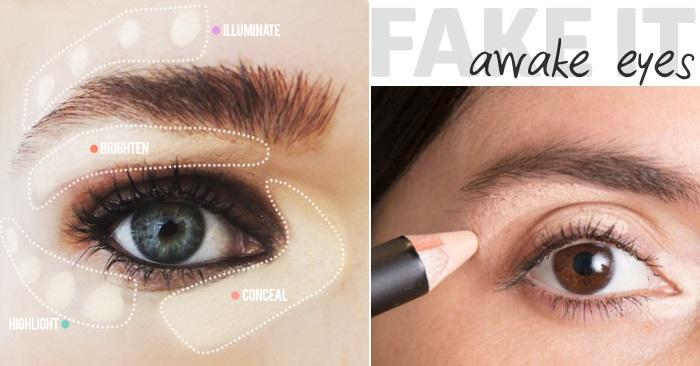 use makeup to make awake looking eyes