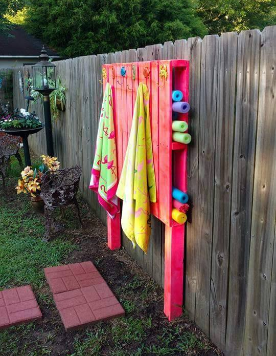 Pool Organization Ideas awesome pool storage ideas pool toy holder made from cargo net and command hooks Pallet Pool Hack