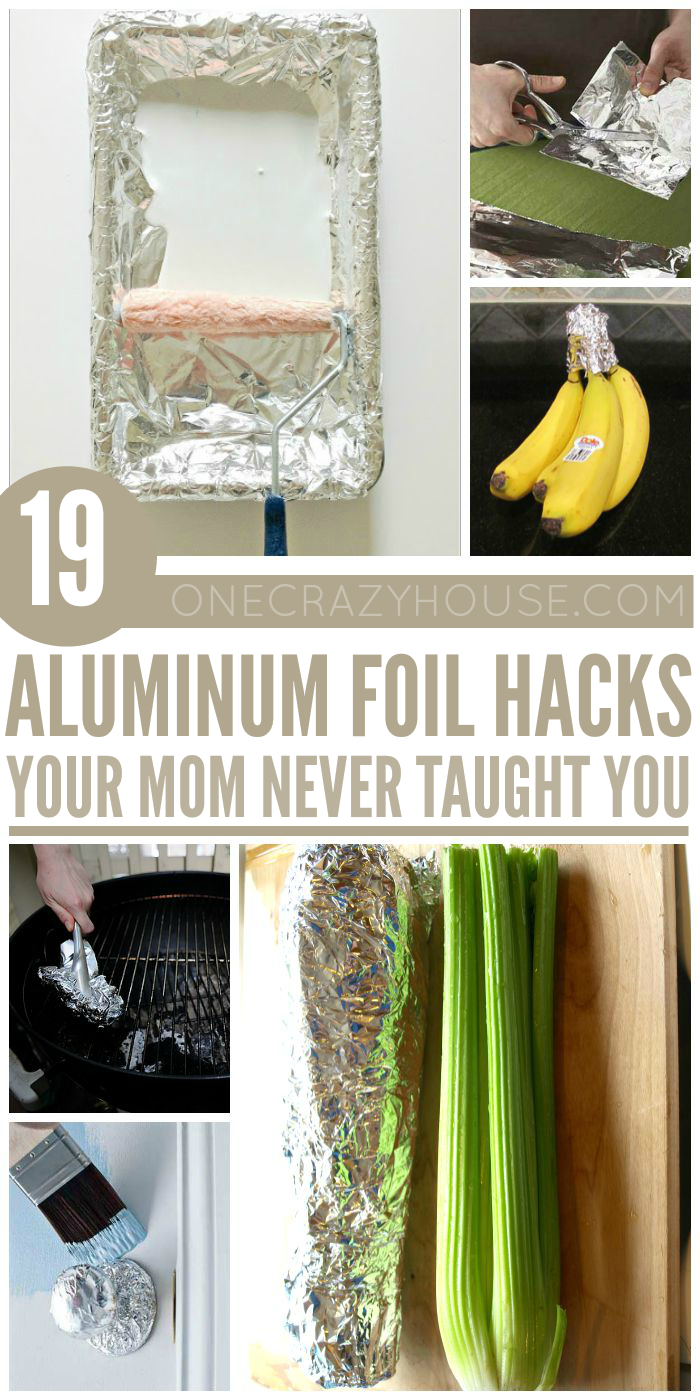 Aluminum foil is very versatile. Check out these tips and tricks that will change the way you use this simple household product. #aluminumfoilhacks #onecrazyhouse #tipsandtricks #hacks