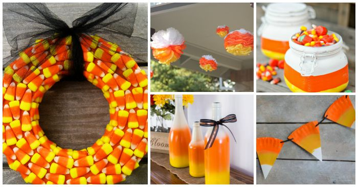 Candy corn inspired decorations for halloween