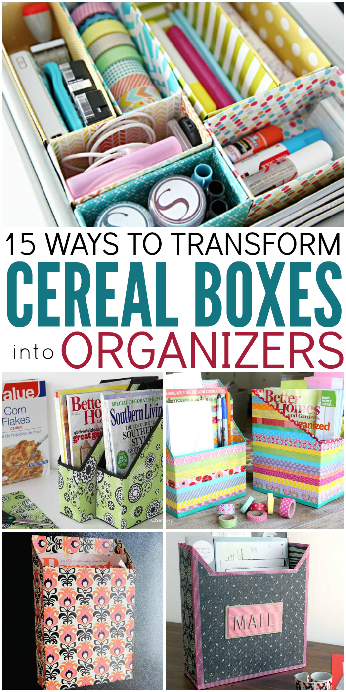 15 ways to make cereal box organizers for Diy crafts with things around the house