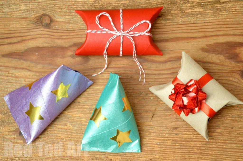 use paper towel rolls as fun gift wrap for small items