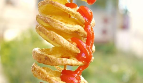It's a Potato Tornado!  Aka the Best Way to Eat Fried Potatoes!