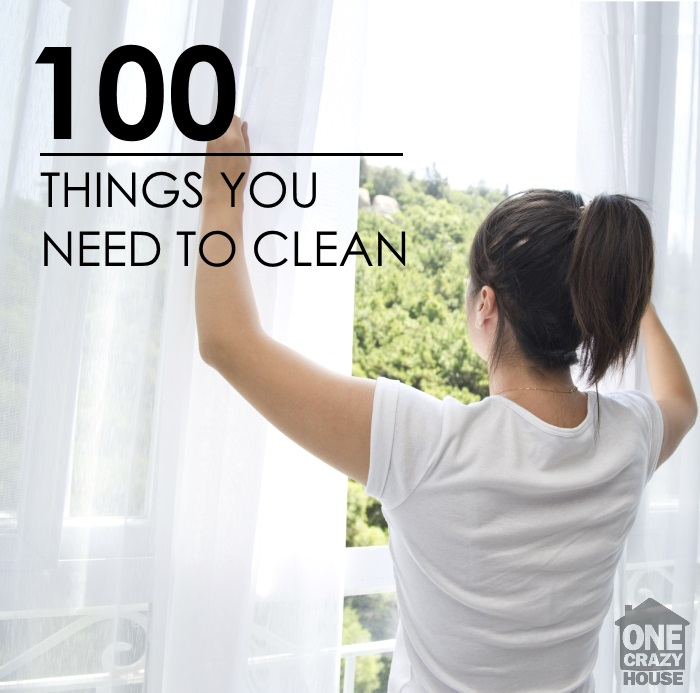 Grab your FREE Housecleaning checklist and learn about the 100 things that need to be cleaned.