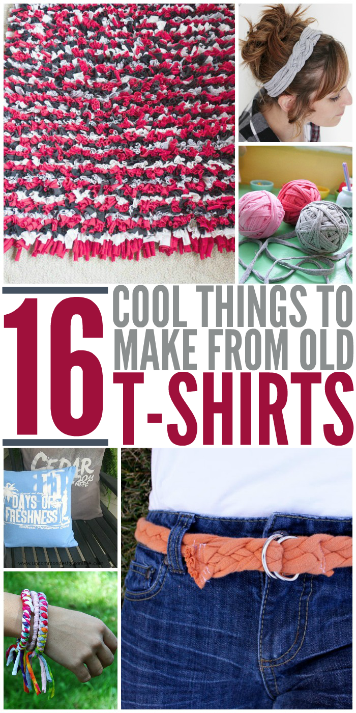 16 cool things to make from your old t shirts for Diy crafts with things around the house