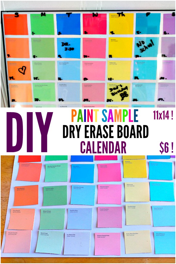 Diy Calendar Board : Diy paint sample dry erase calendar