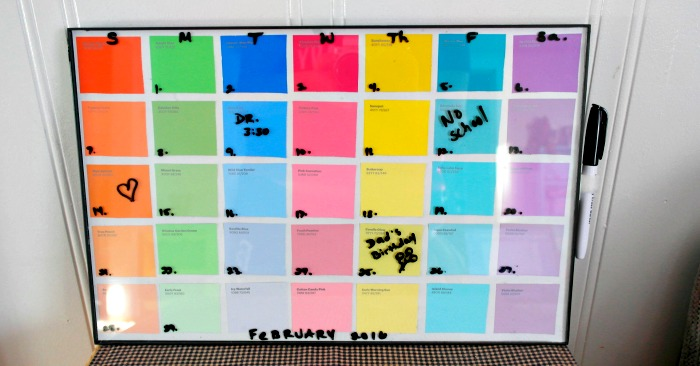 Diy Calendar With Paint Samples : Diy paint sample dry erase calendar