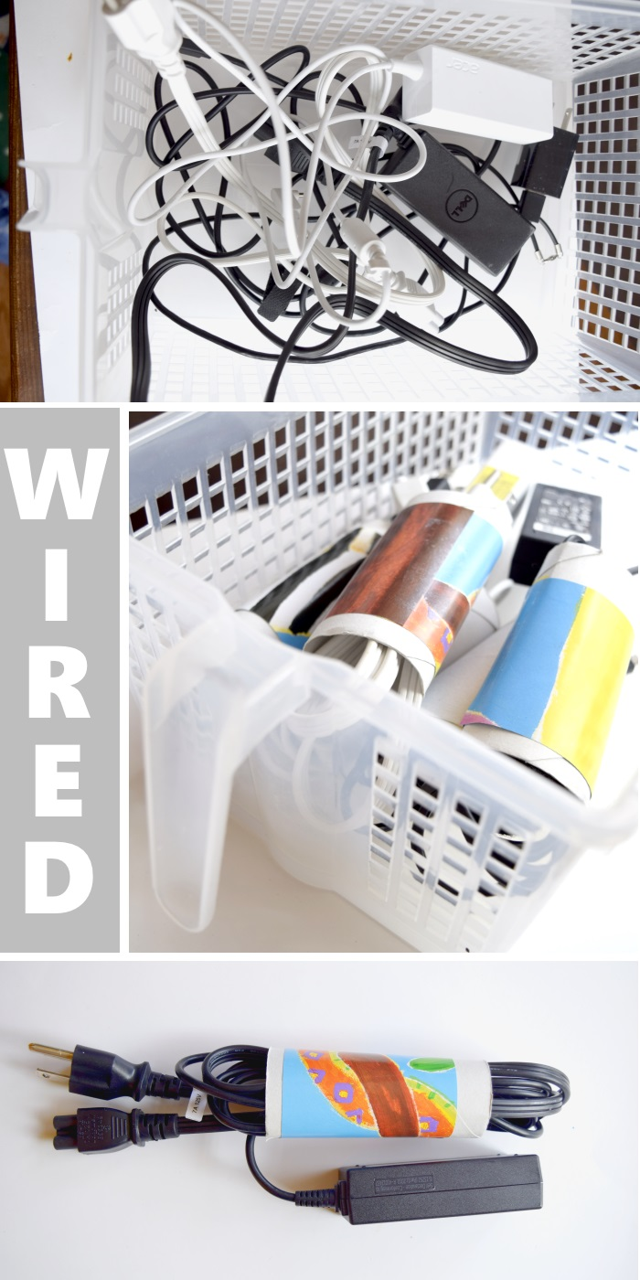 diy storage ideas for wires and cables using cardboard