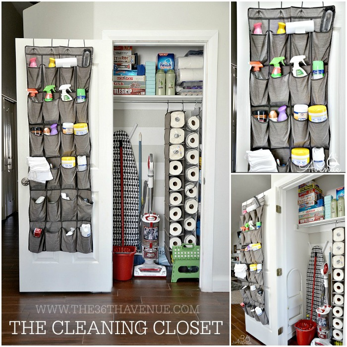 linen closet organization using back of door hanging shoe organizers
