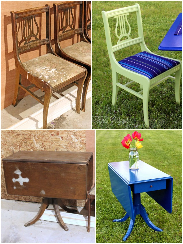 Outdoor furniture makeovers that will blow you away - Paint exterior wood set ...