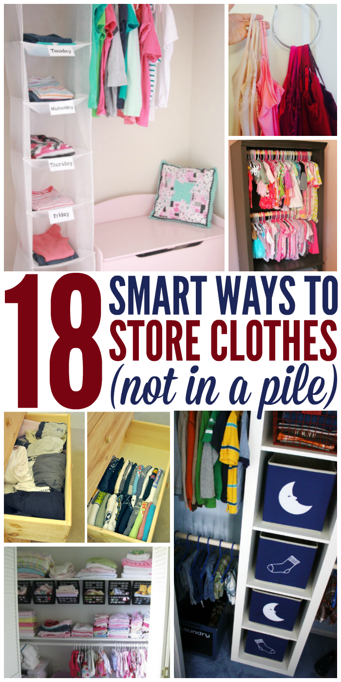 18 Ways to Store Clothes - Not in a Pile, collage of children's clothing sorted and stored in hanging shoe cubby with weekday labels, camisoles being hung on accessories hook to save space, small children's clothing hanging on two rods in closet to maximize space, a Before image of a messy drawer full of t-shirts and an After image of the drawer with neatly folded t-shirts filed away, a children's closet with hanging baskets to organize their small items, and a young boy's closet featuring two containers with a moon image on the front to store pyjamas and two containers with a sock image on the front to store socks