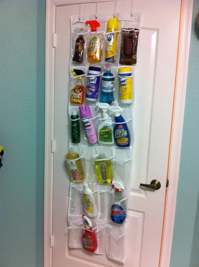 An over the door shoe organizers used to store cleaning supplies
