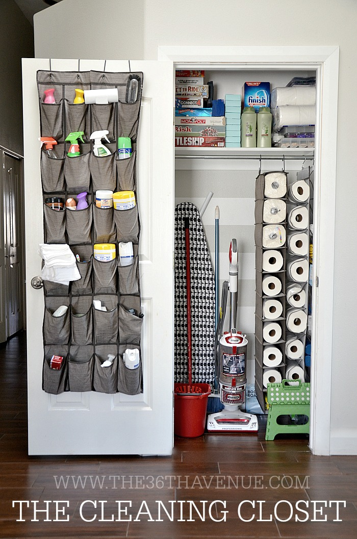 paper towels stored in shoe rack inside a closet
