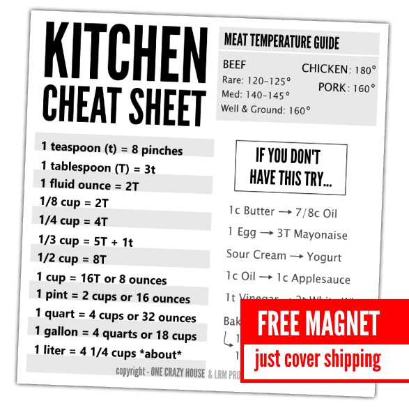 kitchen cheat sheet promo ad