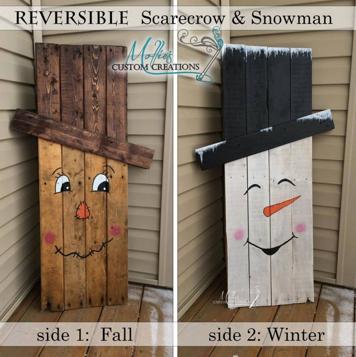Got pallets these 17 diy pallet ideas are clever - How to make a snowman out of wood planks ...
