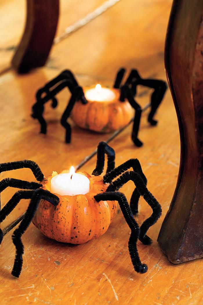 Pipe Cleaner Spider Pumpkin Votive Candle