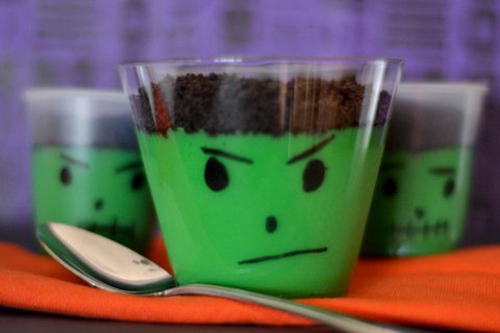 Green Pudding Frankenstein cups