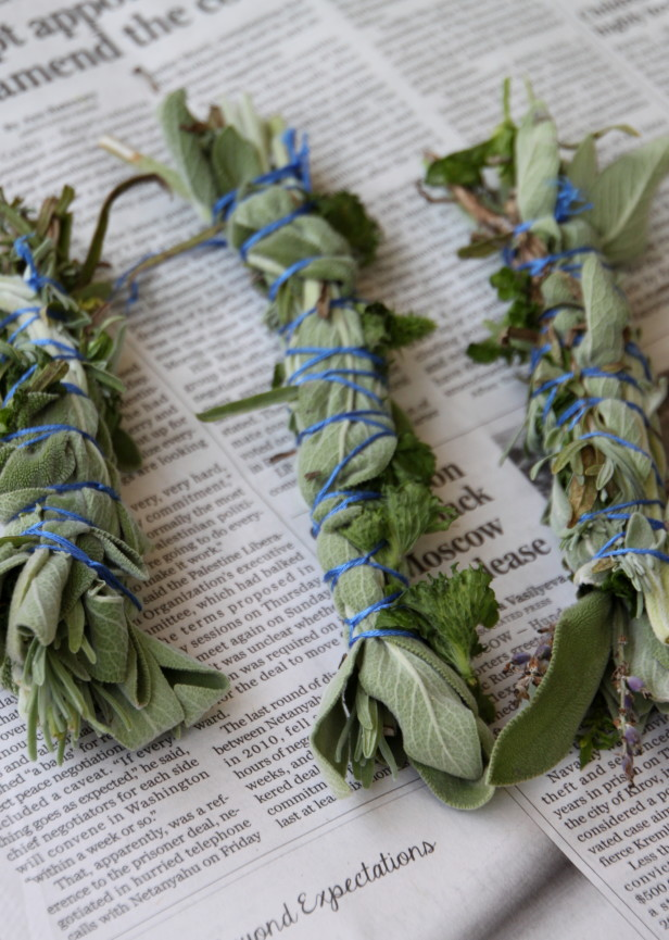 burn bundles of herbs like these as natural pest control