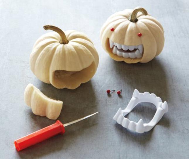fangs in mini pumpkins