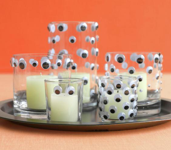 googly eyes on votive candle holders