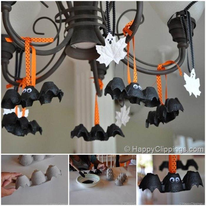 black egg carton bats hanging from light