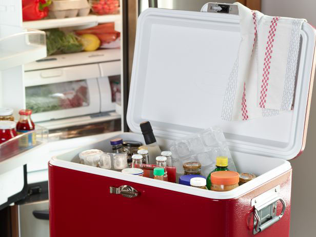 host Thanksgiving with a cooler with ice and bottles