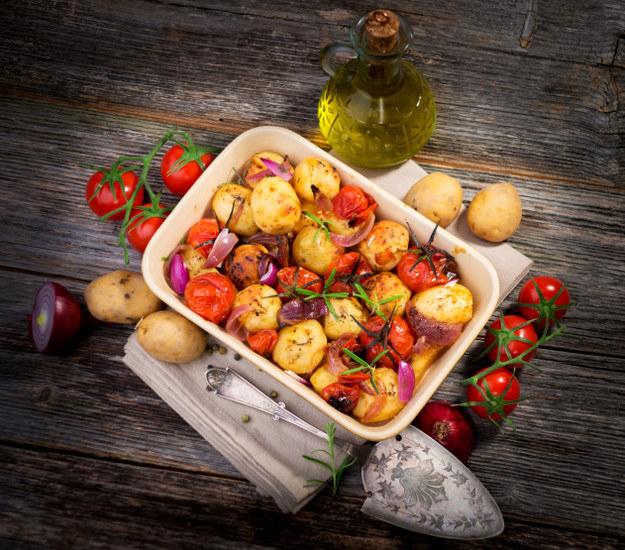 pan of roasted mixed veggies