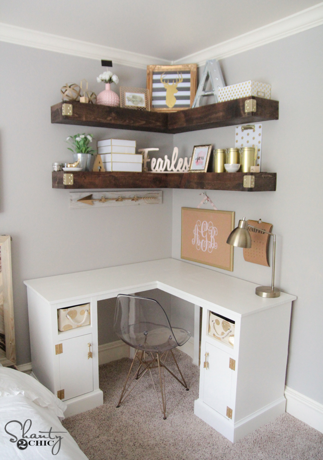 15 ways to better use corner space - Corner desks with shelves ...