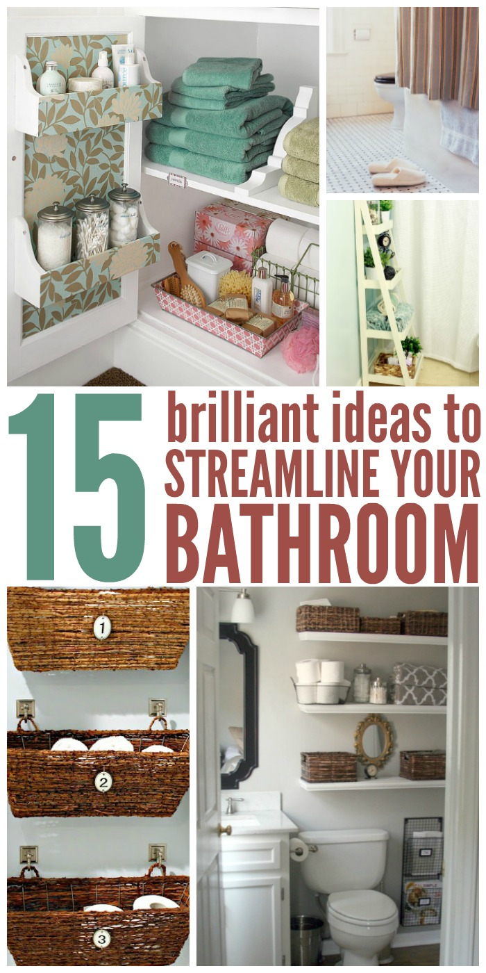 15 Ideas to Streamline Your Bathroom - Lots of bathroom organizing tips for big and small spaces