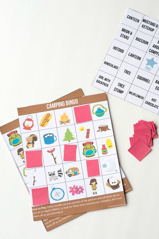 printed out camping bingo game cards