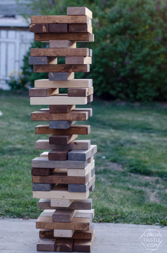DIY Jenga Game stacked up