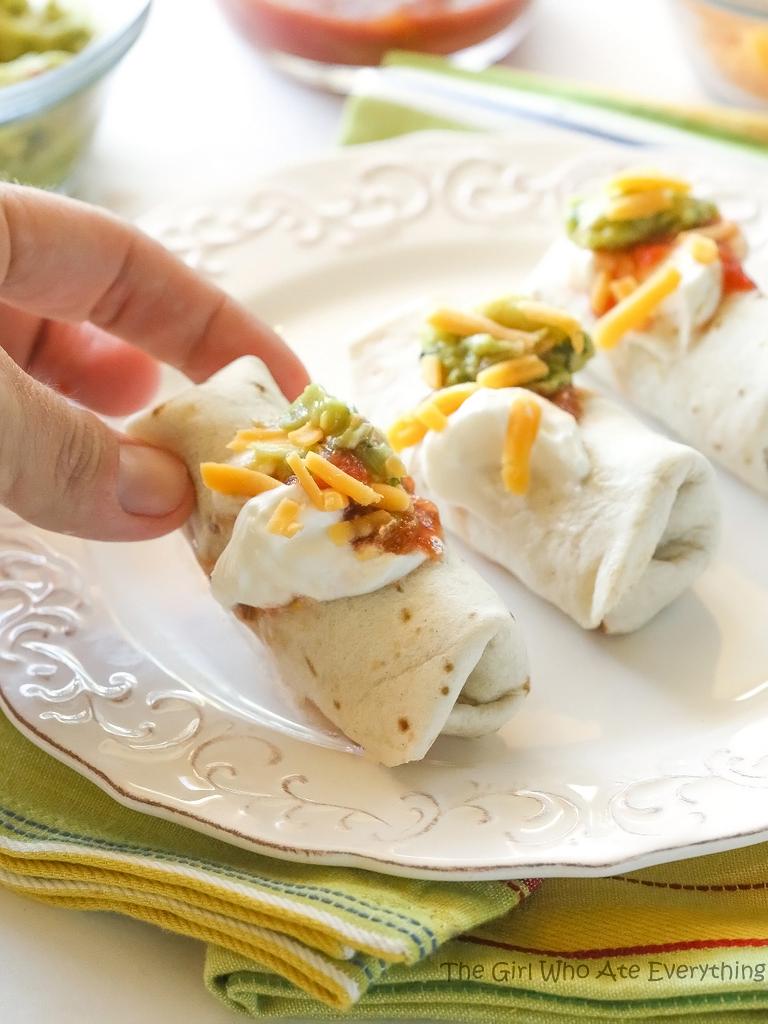 mini burritos on a plate