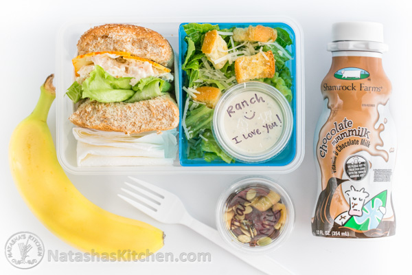 chicken sliders with milk, salad and banana