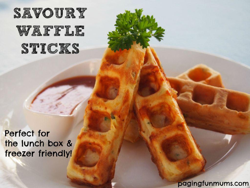 savory waffle sticks with marinara dipping sauce