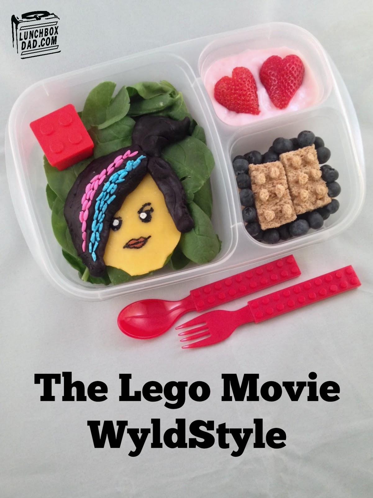 Lego-themed school lunch idea for kids