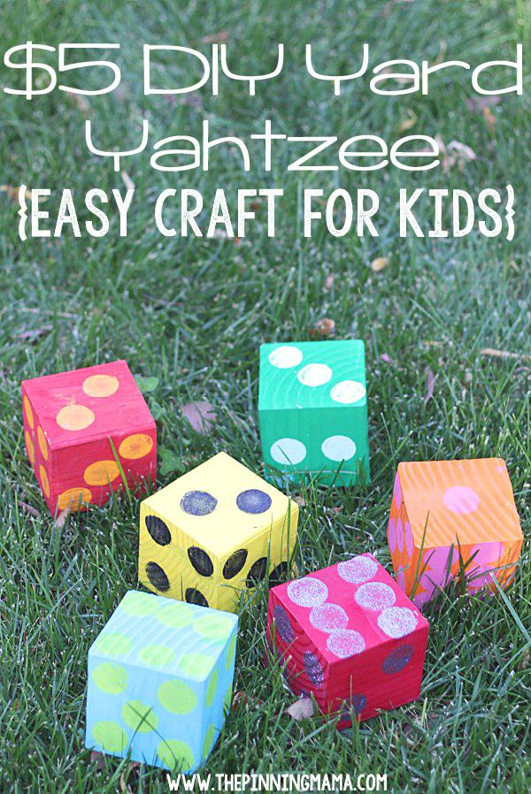 DIY yard Yahtzee dice in the grass