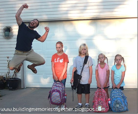 dad jumping for joy while the kids stand there unhappy to go back to school