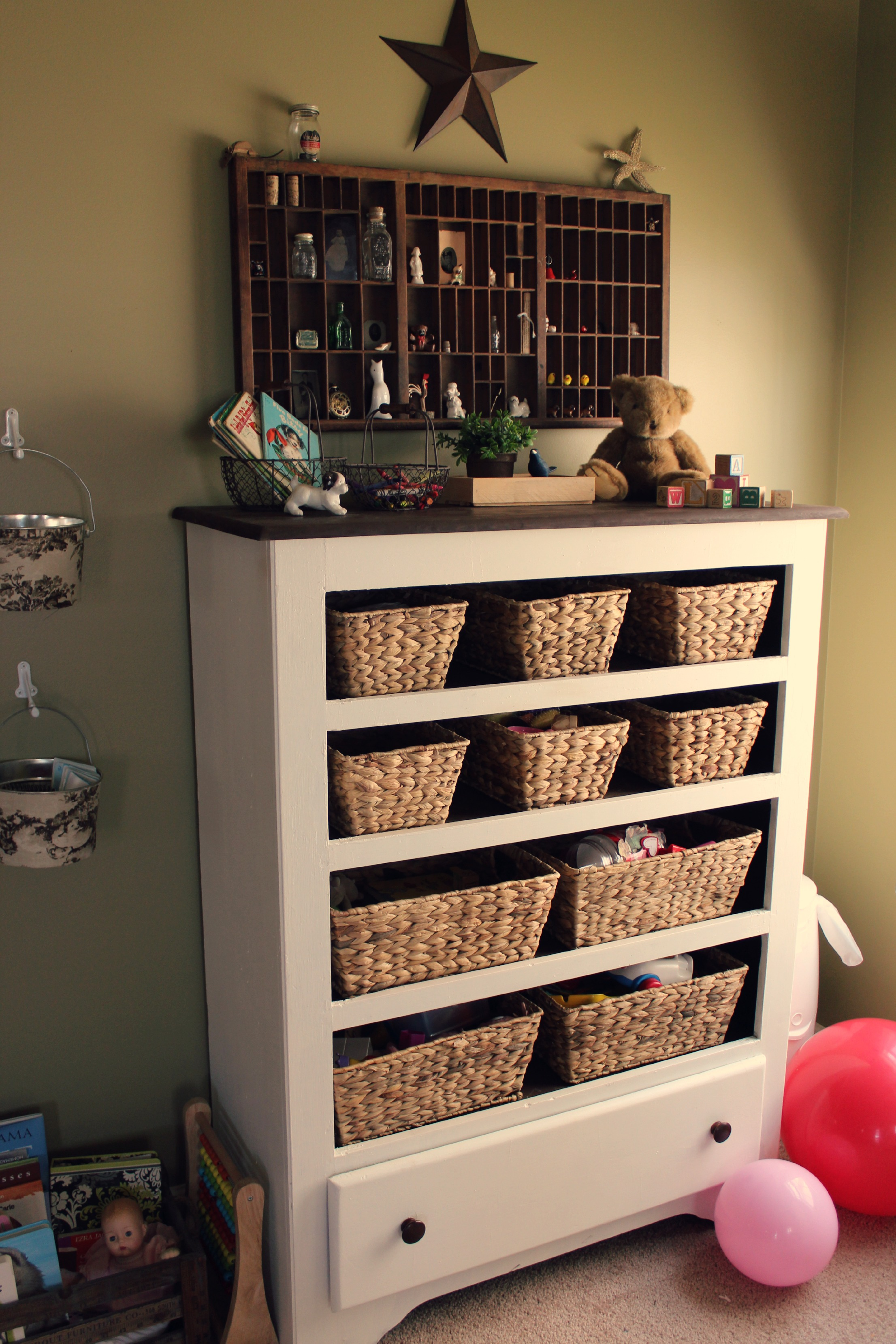 dresser full of baskets