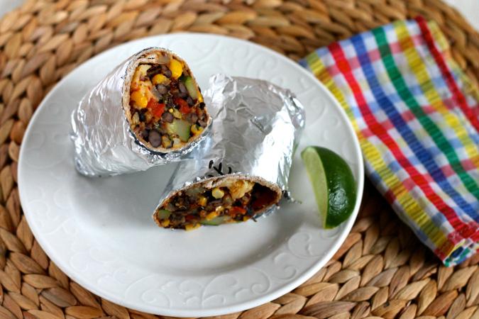 freezer dinner black bean quinoa burritos