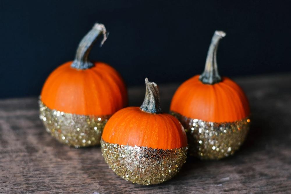 glitter dipped pumpkins
