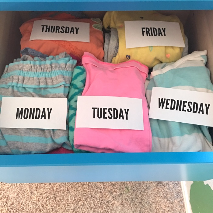 Genius back to school tip - layout and label your clothes by the day at the beginning of the week