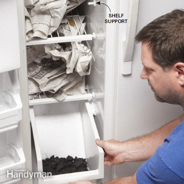 newspapers in fridge