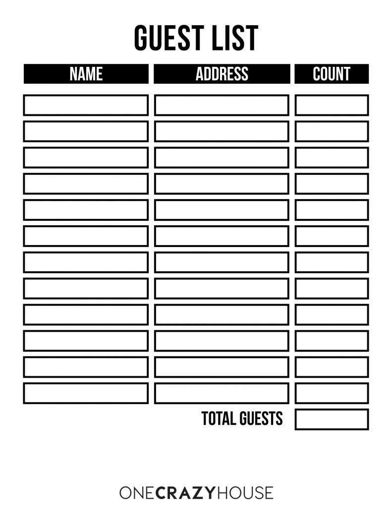 Make Holiday Planning Easier - FREE Guest List Printable