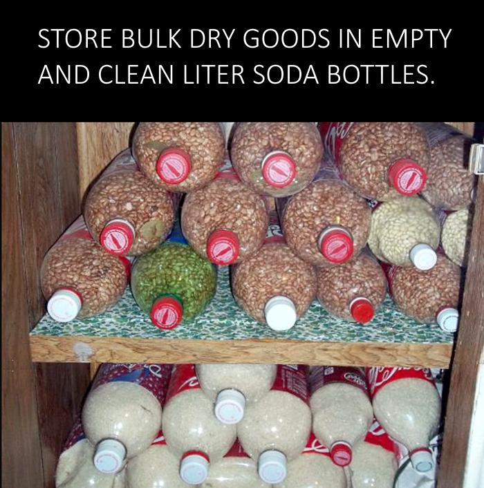 Kitchen food storage idea using soda bottles