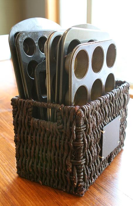 magazine basket for cupcake pans