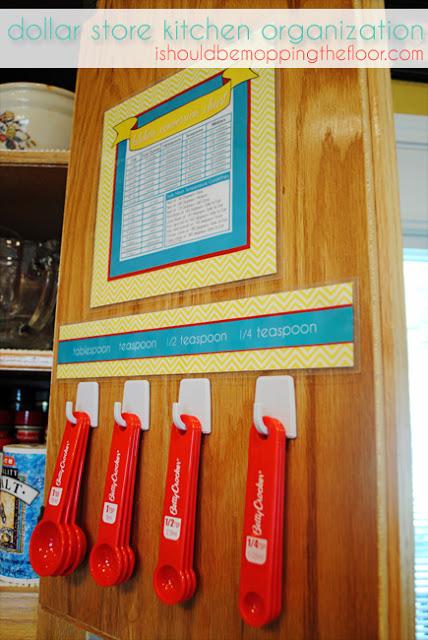 measuring spoons inside cabinet door