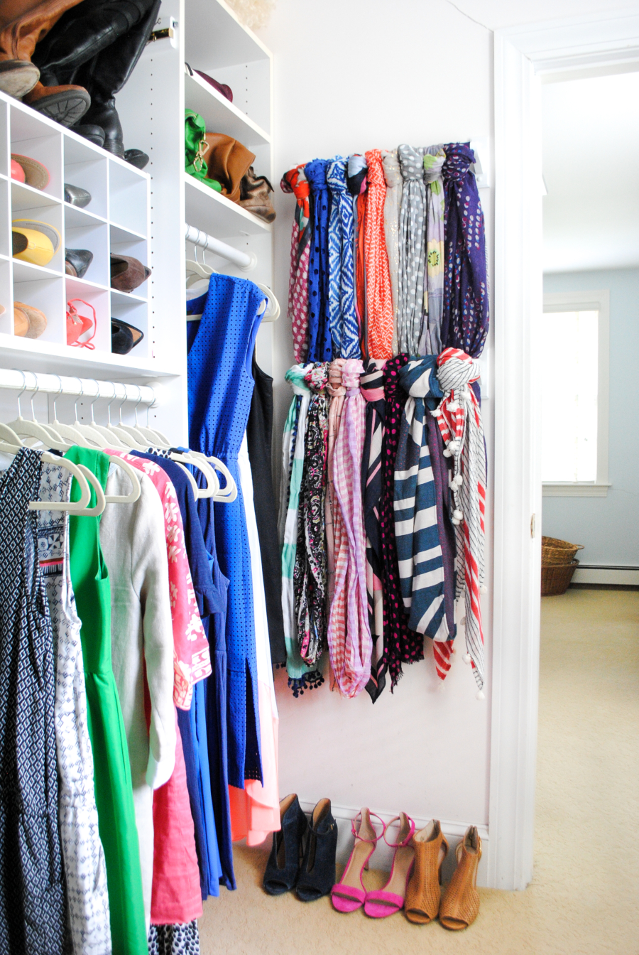 Install towel bars on the back of your closet door to hang your ...